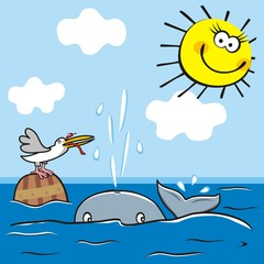 whale and bird in the sea, cute picture for kids, vector illustration