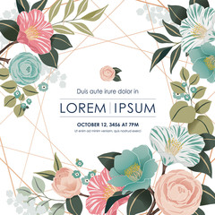 Vector illustration of a beatiful floral frame in spring for Wedding, anniversary, birthday and party. Design for banner, poster, card, invitation and scrapbook