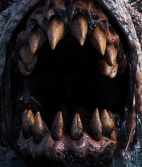 Close up Teeth of monster creature,3d rendering