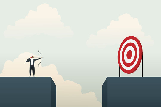 Business people aiming the target. Concept business, vector illustration.