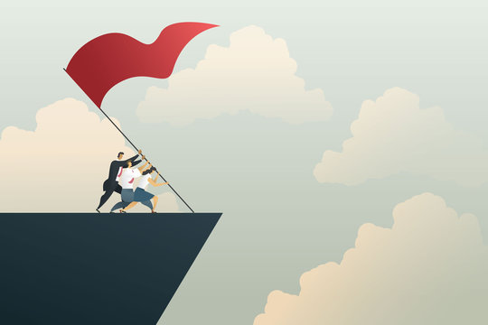 Business people teamwork together to achieve goal on the mountain. Concept business, vector illustration.