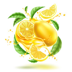 Vector realistic lemon splash flow with leaves