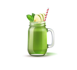 Realistic smoothie mason jar with apple slices, green leaves and straw. Green fruits and vegetables mix in glass jar. Detox cocktail for healthy dieting. Spinach, kiwi and celery shake.