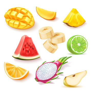 Realistic tropical fruit slices set. Delicious mango cubes, ripe watermelon, pineapple wedge, banana rings, lime half, pear, orange and dragonfruit pitahaya slices. Vector summer holiday exotic fruits