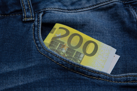 200 euro bill in the pocket of jeans