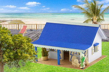 Maquette typique de case créole , île de la Réunion