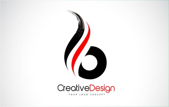 Red and Black B Letter Design Brush Paint Stroke