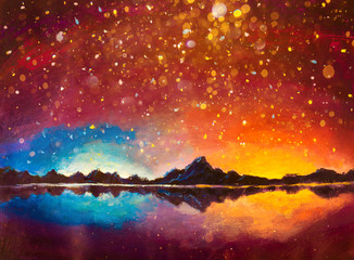 Photo sur Aluminium Orange eclat Original oil painting magic glowing night landscape mountain and milkyway galaxy warm cold bokeh background, long exposure, low light illustration artwork
