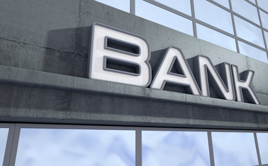 Signage above the entrance to a modern generic bank building made of exposed concrete and reflective glass in the day time - 3D render