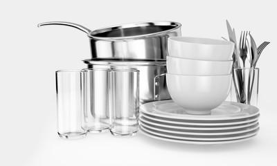 Fototapeta Clean Dishware Stack obraz
