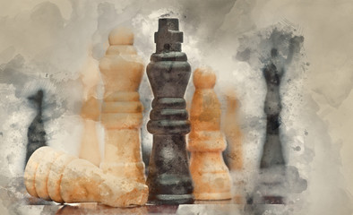 Fototapeta Watercolour painting of Chess game of strategy business concept application obraz