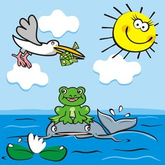 Life on a pond, fish, frog and bird, funny vector illustration