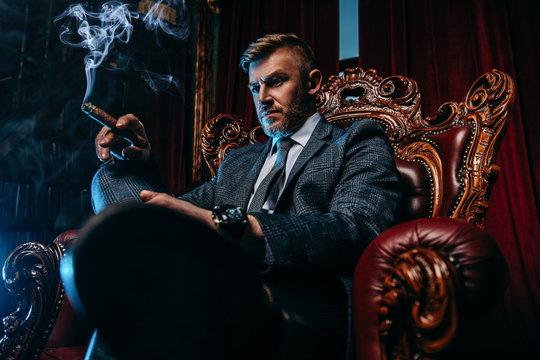 smoking a cigar