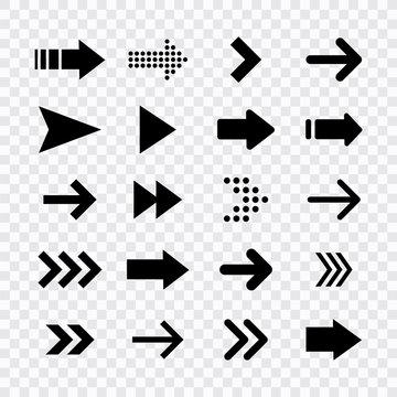 Arrows big black set icons. Arrow icon. Arrow vector collection. Arrow. Cursor. Modern simple arrows. Vector illustration.