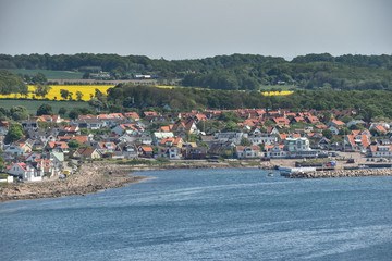 The town of Molle with the harbor in front shot from sea