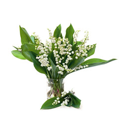 Bouquet of flowers and leaves lily of the valley ( Convallaria majalis ) in small glass on white background