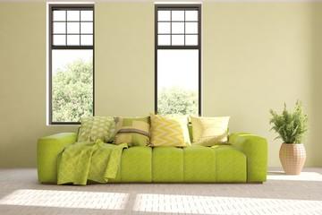 Green stylish minimalist room with sofa and summer landscape in window. Scandinavian interior design. 3D illustration