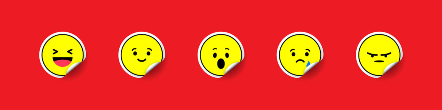 Emoji stickers collection. Yellow emojis label on red background. Emoji tag with shadow. Label sticker. Label tag