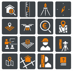 zweifarbiges Icon Set Vermessung/Survey orange/grau