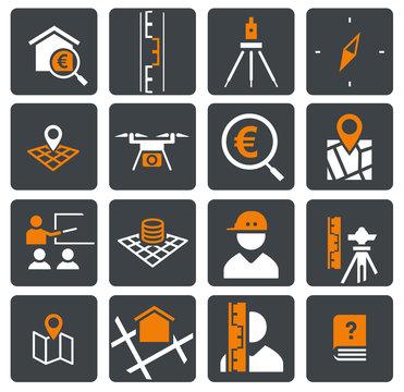 zweifarbiges Icon Set Vermessung/Survey orange/grau
