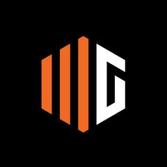 Fototapeta Initial Letter WG or MG, Vector Logo Emblem obraz