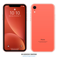 smartphone in coral color with colorful screen front and back side on white background. stock vector illustration eps10