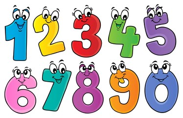 Photo sur Plexiglas Enfants Cartoon numbers theme set 1