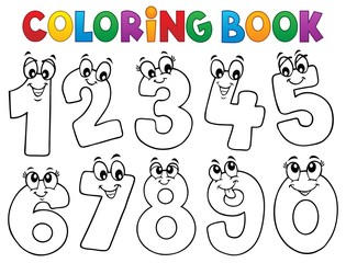 Poster For Kids Coloring book cartoon numbers set 1