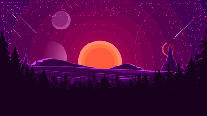 Landscape with sunset behind the mountains, forest and starry sky in purple tones. Vector illustration.