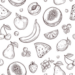 Doodle fruits seamless pattern. Sketch fresh organic berries vector endless texture. Fruits and berry healthy, sweet and ripe illustration