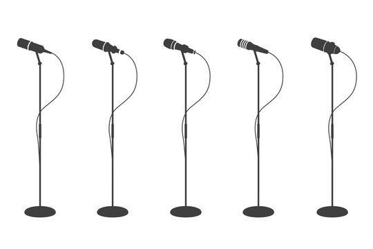 Microphone silhouettes. Standing microphones audio equipment. Concept and karaoke music mics vector isolated collection. Mic audio, microphone for speech and record illustration