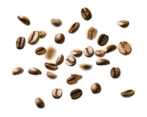 Poster Café en grains Coffee beans in flight on white background