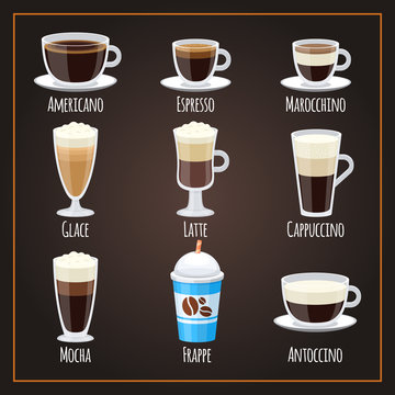 Coffee types flat vector collection americano and latte. Illustration of espresso and latte, americano and mocha
