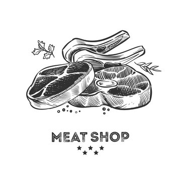 Meat products, fresh beafsteak and ribs hand drawn vector illustration. Steak pork, beefsteak for barbecue, sirloin and bacon