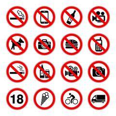 Fototapeta zestaw znaków zakazu obraz