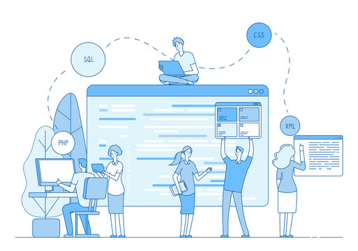 Programmers coding website. Coders write source code on screen on window. Php css engineer designer support line vector concept. Illustration of team programmer write code for software