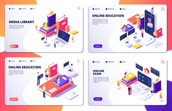 Online education, training, library, exam vector landing page templates. Education training and web library online illustration