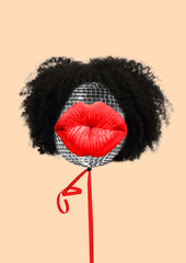 Weekend chilling. Do not be shy to dance like a wild. Disco ball as a head with african hair and...