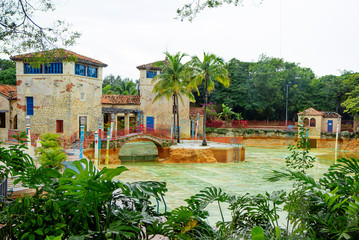 Florida, USA, Venetian pool in coral Gables. The Venetian pool is one of the main attractions of coral Gables, a suburb of Miami. It is a historic public swimming pool, decorated in the style of Medit
