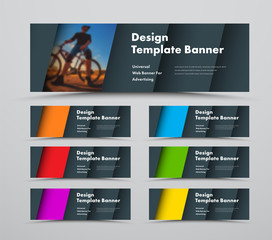 Template of horizontal vector web banners with diagonal elements and space for photo.