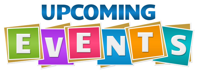 Upcoming Events Colorful Blocks Text