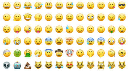 Emoji set icons bor apps Fototapete