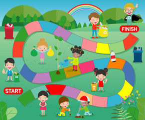 board game with Volunteer Children recycle, Kids Planting, Illustration of a board game with child Save the World background