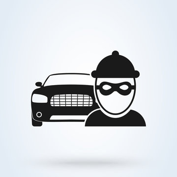 Vector car thief Icon. Thief steals car, insurance. Flat design vector illustration