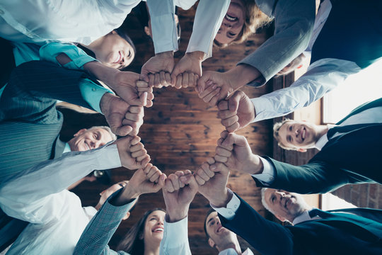 Close up low angle view photo members business people circle she her he him his hold hands arms fists together celebrate project prize nomination power inspiration dressed formal wear jackets shirts