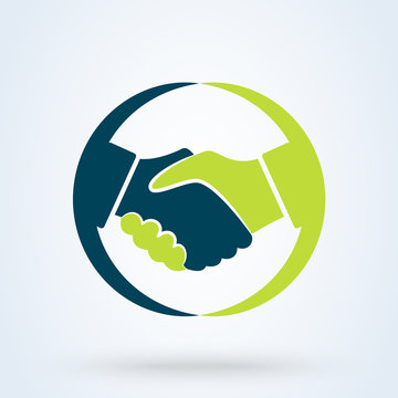 Handshake sign in the circle, on white background. Vector illustration