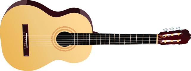 Realistic vector musical instrument. Wood brown classic acoustic guitar.