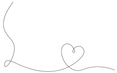 Heart background or card, valentines day banner one line, vector illustration