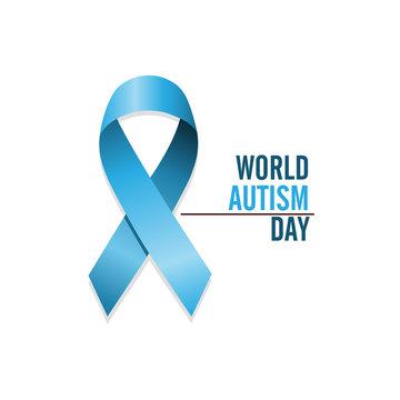 Blue autism ribbon. International autism awareness day