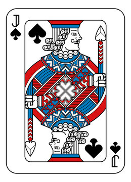 A playing card Jack of Spades in red, blue and black from a new modern original complete full deck design. Standard poker size.